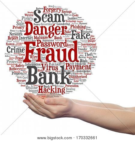 Concept or conceptual bank fraud payment scam danger circle word cloud in hand isolated on background metaphor to password hacking, virus, fake authentication crime, illegal transaction identity theft