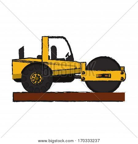 construction road roller truck icon over white background. vector illustration