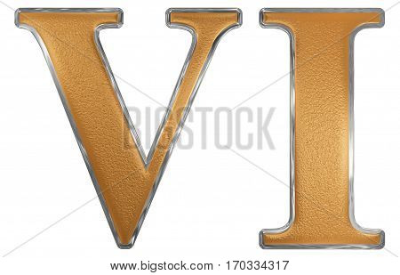 Roman Numeral Vi, Sex, 6, Six, Isolated On White Background, 3D Render