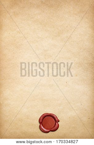 Old parchment paper background with red wax seal