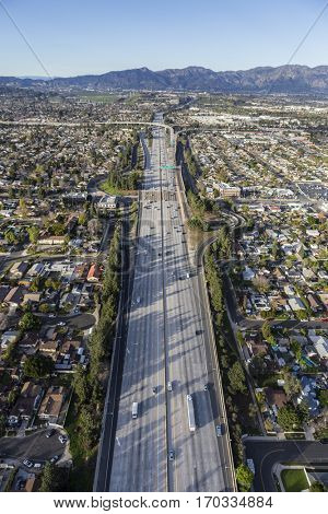 Aerial view of the 14 lane Golden State 5 Freeway in the San Fernando Valley area of Los Angeles, California.