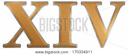 Roman Numeral Xiv, Quattuordecim, 14, Fourteen, Isolated On White Background, 3D Render