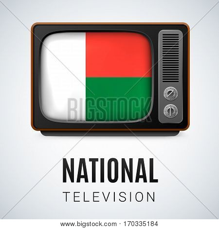 Vintage TV and Flag of Madagascar as Symbol National Television. Tele Receiver with Malagasy flag