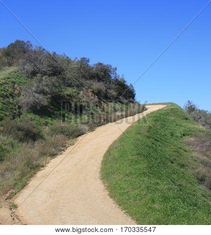Dirt path leading up a hillside, California