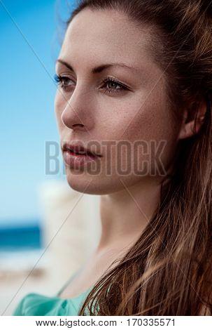 portrait of female in summer coast region