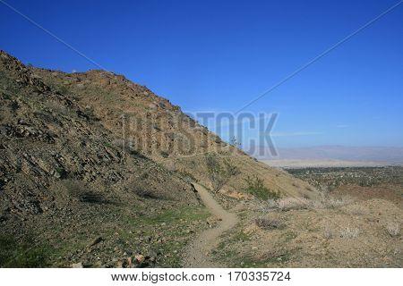 Hiking trail climbing a hill, Palm Springs, CA