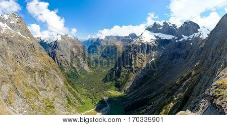 A Panoramic View of Fjordland From Gertrude Saddle.  Milford Sound, Southern Alps, New Zealand.