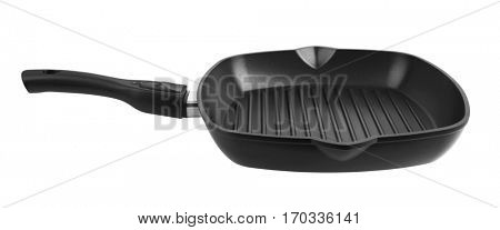 Pan for grill with handle isolated on white background