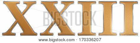 Roman Numeral Xxiii, Tres Et Viginti, 23, Twenty Three, Isolated On White Background, 3D Render