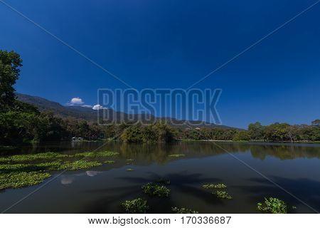 Ang Kaew reservoir in Chiang Mai University Chiang Mai Thailand