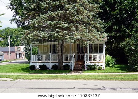 HARBOR SPRINGS, MICHIGAN / UNITED STATES - AUGUST 4, 2016: A Victorian home behind a blue spruce tree (Picea pungens) in Harbor Springs, Michigan.
