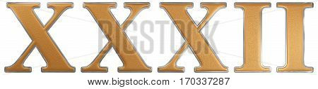 Roman Numeral Xxxii, Duo Et Triginta, 32, Thirty Two, Isolated On White Background, 3D Render