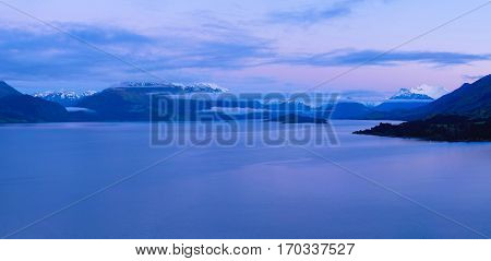 Panorama of Lake Wakatipu Before Dawn.  Queenstown, Southern Alps, New Zealand