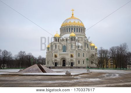 St. Nicholas naval Cathedral in Anchor square gloomy January day. Kronstadt