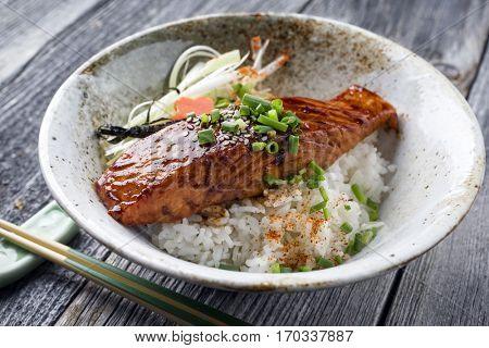 Salmon Teriyaki with Rice and Vegetable