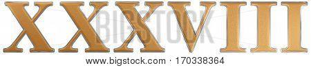 Roman Numeral Xxxviii, Octo Et Triginta, 38, Thirty Eight, Isolated On White Background, 3D Render