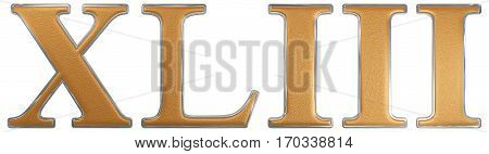 Roman Numeral Xliii, Tres Et Quadraginta, 43, Forty Three, Isolated On White Background, 3D Render