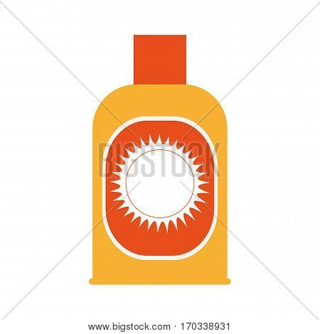 sunblock bottle icon over white background. colorful design. vector illustration