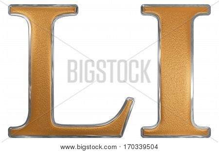 Roman Numeral Li, Unus Et Quinquaginta, 51, Fifty One, Isolated On White Background, 3D Render