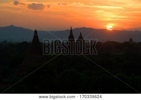 Sunset in ancient Bagan. Burma. Top view