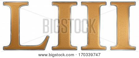 Roman Numeral Liii, Tres Et Quinquaginta, 53, Fifty Three, Isolated On White Background, 3D Render
