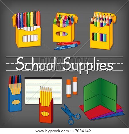 School supplies for kindergarten, daycare, back to school, marker pens, wax crayons, colored pencils, ball point pens, lined paper, yellow pencils, glue sticks, scissors, folders on chalkboard background with penmanship text title.