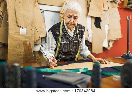 Dressmaker in workshop