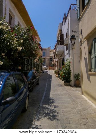 Rethymno Greece - July 30 2016: Narrow streets in Old Town. The old town of Rethymnon is one of the best-preserved towns of the Renaissance.
