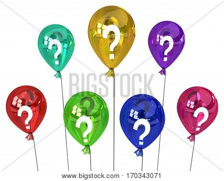 Color party question balloons group inflated 3d illustration horizontal