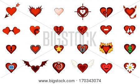 Valentine cartoon small heart symbol set, vector illustration, isolated, over white