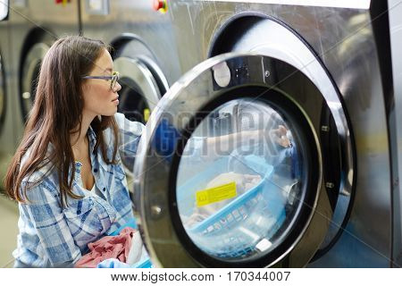 Woman in laundry