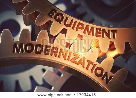 Equipment Modernization on the Golden Metallic Cog Gears. Equipment Modernization on Mechanism of Golden Cog Gears with Glow Effect. 3D Rendering.
