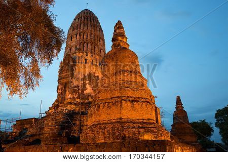 Main prang of the ancient Buddhist temple of Wat Ratcha Burana in the evening twilight. Ayutthaya, Thailand