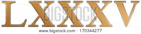 Roman Numeral Lxxxv, Quinque Et Octoginta, 85, Eighty Five, Isolated On White Background, 3D Render