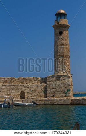 Rethymno, Greece - July  30, 2016: The Old Lighthouse.