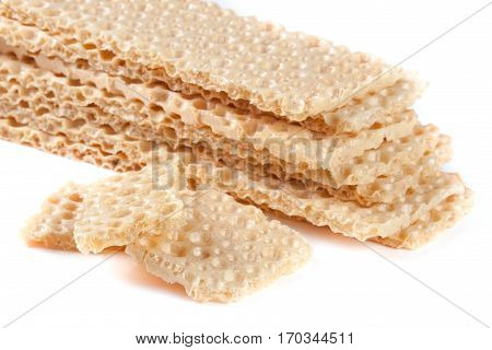 grain crispbreads isolated on a white background.
