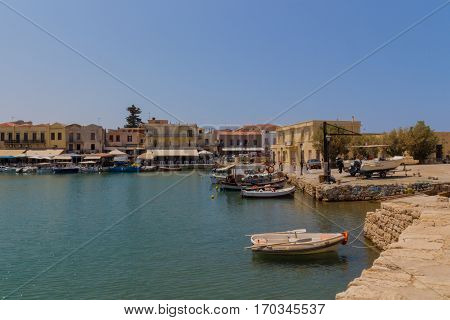 Rethymno, Greece - July  30, 2016: Venetian Harbour.