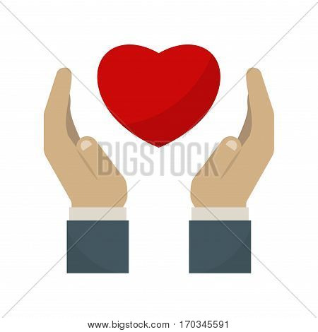 Healthy human hand in perfect heart shape sharing love friendship. Blood logo promotion donation. Disease month hope solidarity illness charity icon.
