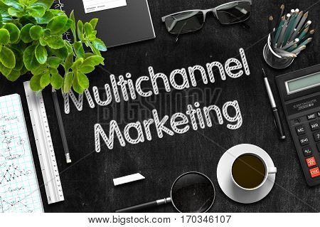 Multichannel Marketing on Black Chalkboard. 3d Rendering.