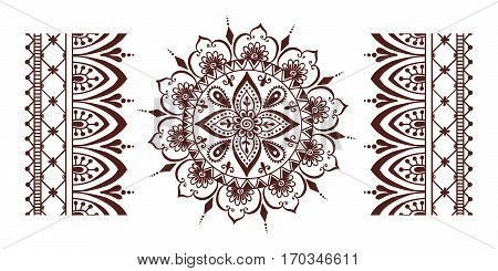 e056667fb3693 Henna tattoo mehndi flower template vector. Doodle ornamental lace  decorative element. Indian design pattern