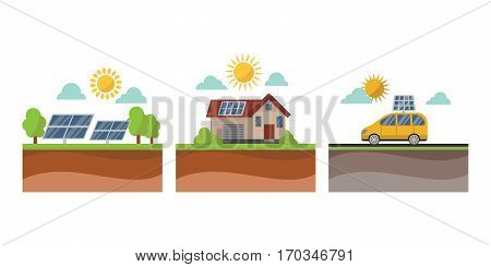Vector sun solar energy icon symbols electricity technology renewable ecology. Industrial clean electrical alternative panel modern innovation generator.