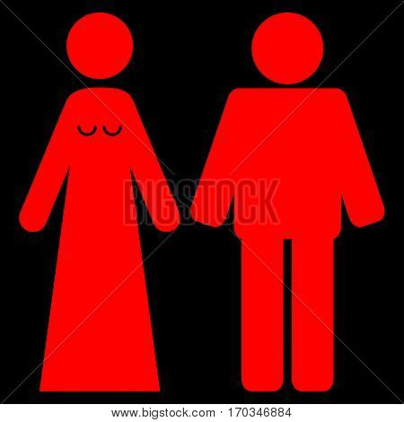 Married Groom And Bribe vector icon symbol. Flat pictogram designed with red and isolated on a black background.