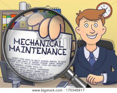 Mechanical Maintenance. Text on Paper in Businessman's Hand through Magnifier. Multicolor Doodle Illustration.