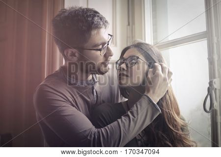 Lovely couple touching eachother tenderly