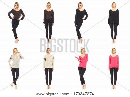 Blond women with black pants concept isolated