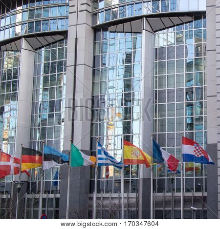 European Parliament offices and flags