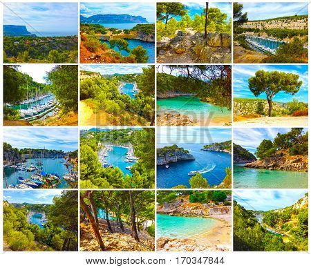 Calanque between Marseille and Cassis, Provence France. Collage