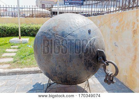 Rethymno, Greece - July  30, 2016:  Old Naval Mine.