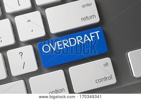 Overdraft Concept: Aluminum Keyboard with Overdraft, Selected Focus on Blue Enter Key. 3D Illustration.