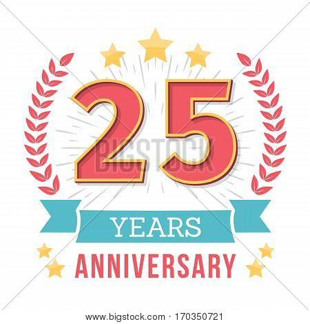 25 Years anniversary emblem with ribbon laurel wreath and stars, vector eps10 illustration